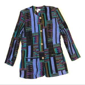 Vintage Geometric Print Button Front Blazer Jacket